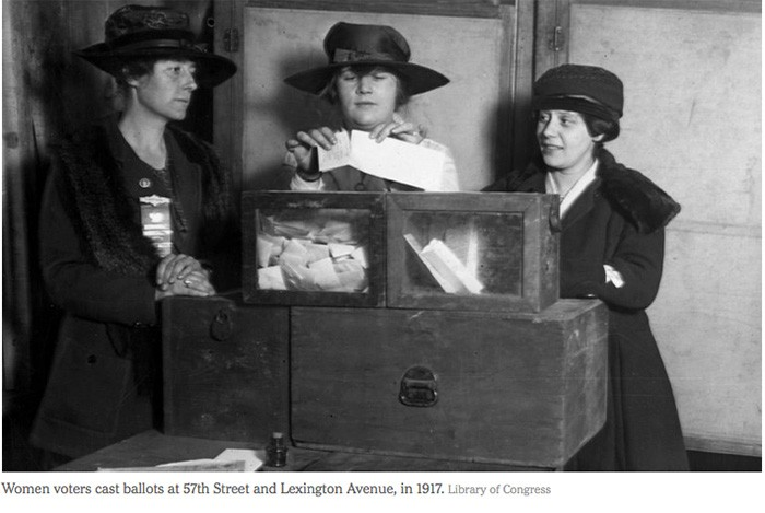 Women voters cast ballots at 57th Street and Lexington Avenue, in 1917. Library of Congress.