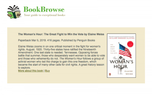 BookBrowse – The Woman's Hour Review.