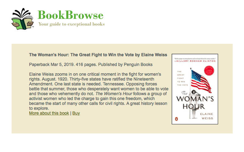 BookBrowse chooses TWH as a great book club read for 2019