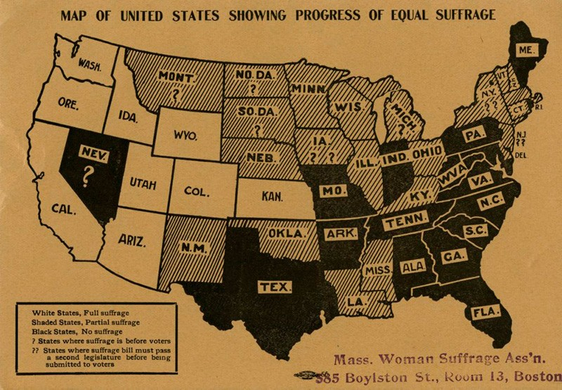 Map of states where women were allowed to vote, and in what capacity, circa 1912. (Courtesy Scripps College)