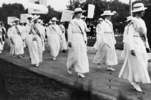 Women march for the right to vote in Nashville. Tennessee was the final state to ratify the 19th Amendment, passing it narrowly on August 18, 1920. Tennessee State Library & Archives.
